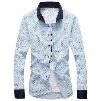 Cross Pattern Contrast Collar Button Down Shirt - OASIS 3XL