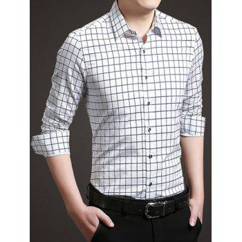 Long Sleeve Button Up Grid Shirt - WHITE M