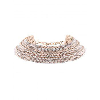 Statement Rhinestoned Multilayer Chain Necklace