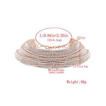 Statement Rhinestoned Multilayer Chain Necklace - CHAMPAGNE