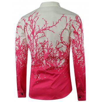 Tree Branch Printed Long Sleeve Shirt - PINK M