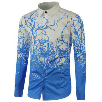 Tree Branch Printed Long Sleeve Shirt - BLUE BLUE