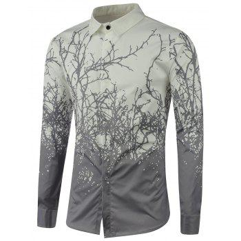 Tree Branch Printed Long Sleeve Shirt - GRAY GRAY