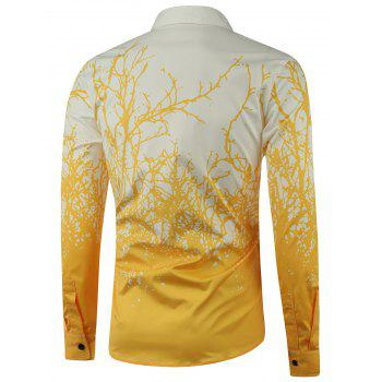Tree Branch Printed Long Sleeve Shirt - YELLOW YELLOW