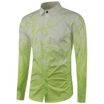 Tree Branch Printed Long Sleeve Shirt - LIGHT GREEN 3XL