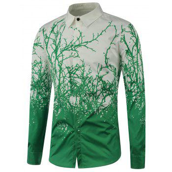 Tree Branch Printed Long Sleeve Shirt - DEEP GREEN 3XL