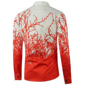 Tree Branch Printed Long Sleeve Shirt - RED RED