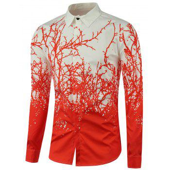 Tree Branch Printed Long Sleeve Shirt