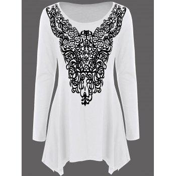 Long Sleeve Abstract Print Asymmetrical Tee