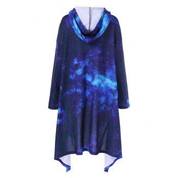 Firmament Pattern Asymmetrical Longline Hoodie - BLUE XL