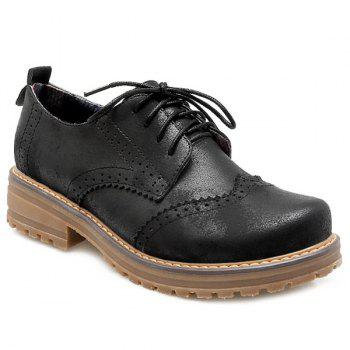 Round Toe Lace Up Wingtip Shoes