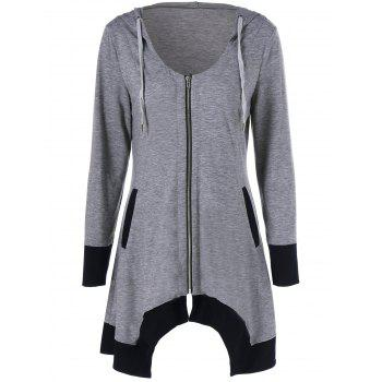 Zip Up Asymmetrical Hooded Tee