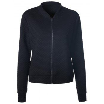 Full Zip Textured Jacket With Pocket