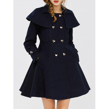 Double Breasted Wool Blend Capelet Coat