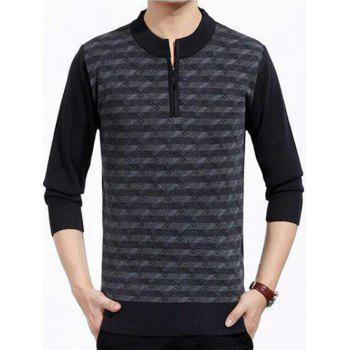 Knitted Patterned Half Zip Up Sweater