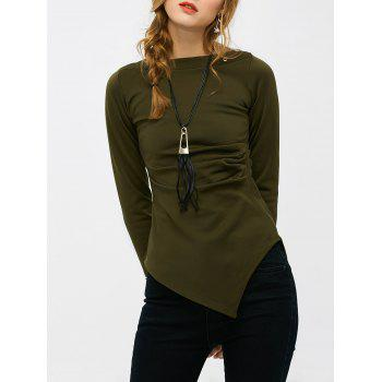 Slash Neck Ruched Asymmetrical Long Sleeve Top