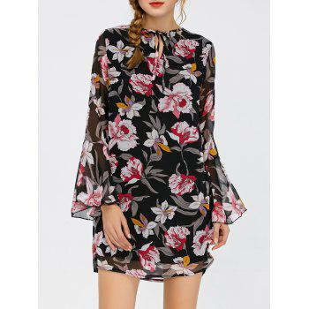 Bell Sleeve Floral Print Chiffon Dress
