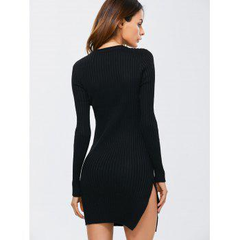 Side Slit Bodycon Ribbed Sweater Dress - ONE SIZE ONE SIZE
