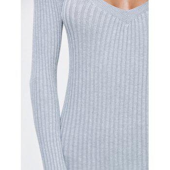 Side Slit Bodycon Ribbed Pencil Sweater Dress - GRAY GRAY