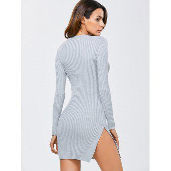 Side Slit Bodycon Ribbed Sweater Dress - Gris ONE SIZE