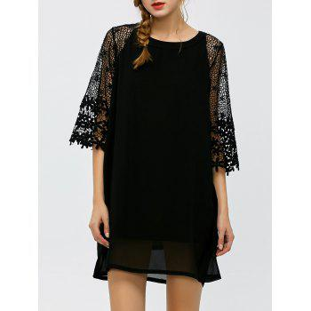 Floral Lace Insert Hollow Out Dress - BLACK L