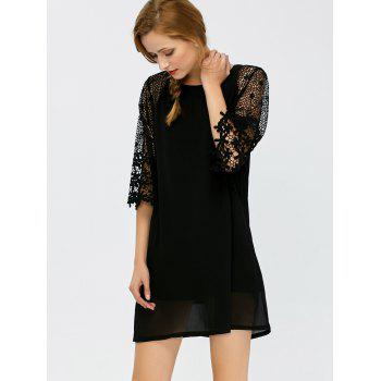 Floral Lace Insert Hollow Out Dress - L L
