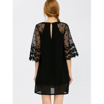 Floral Lace Insert Hollow Out Dress - S S