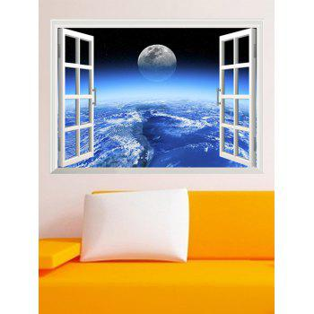 3D Earth Window Design Removable Wall Stickers