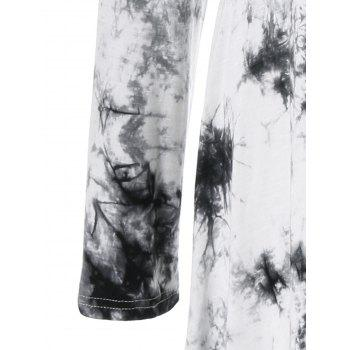 Plus Size Asymmetric Splatter Paint T-Shirt - WHITE/BLACK 3XL
