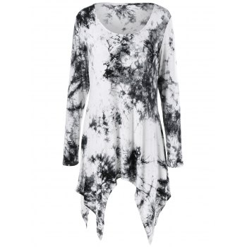 Plus Size Asymmetric Splatter Paint T-Shirt