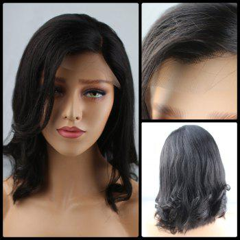 Medium Shaggy Side Parting Wavy Lace Front Human Hair Wig