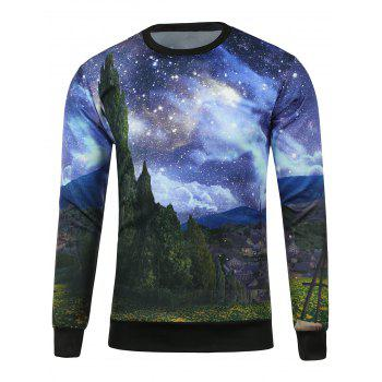 Starry Sky Printed Crew Neck Sweatshirt