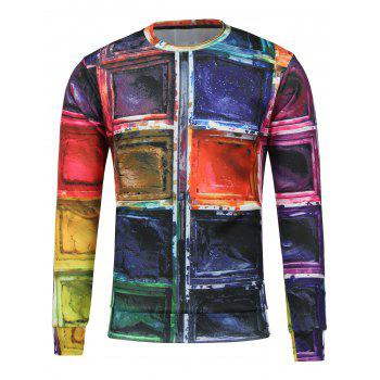 Paint Printed Crew Neck Sweatshirt