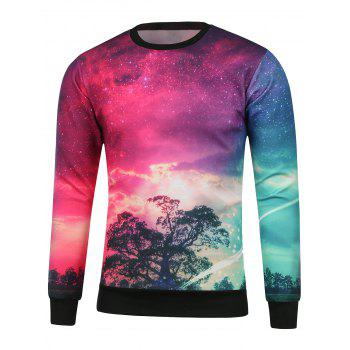 Tree Printed Crew Neck Galaxy Sweatshirt