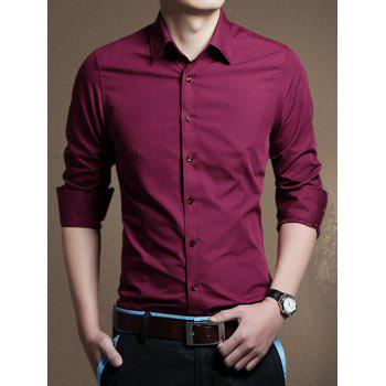 Button Front Long Sleeve Plain Shirt
