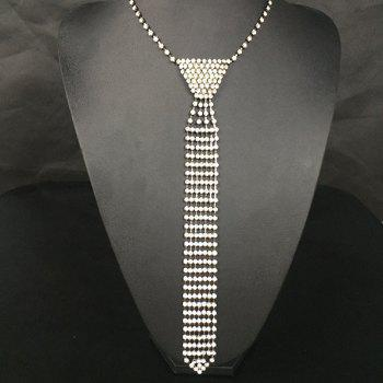 Vintage Geometric Rhinestone Tie Necklace