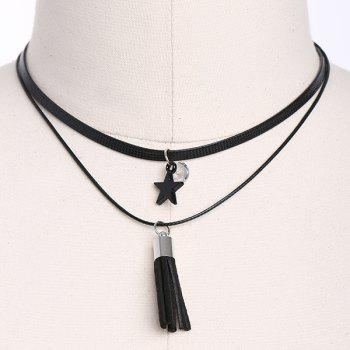 Faux Leather Star Tassel Choker Necklace