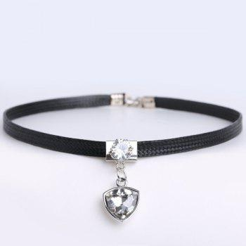 Geometric Rhinestone PU Leather Choker