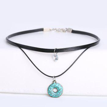 Faux Leather Circle Rhinestone Choker Necklace