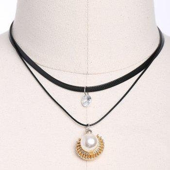Artificial Leather Pearl Rhinestone Choker Necklace