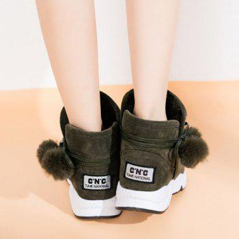 Pompons Suede Snow Lace Up Boots - 39 39