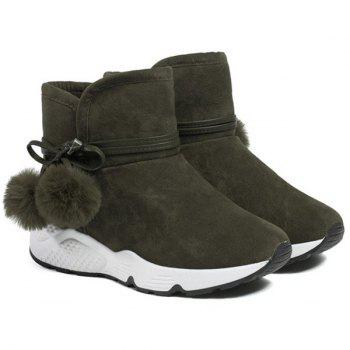 Pompons Suede Snow Lace Up Boots - ARMY GREEN ARMY GREEN