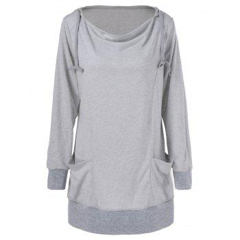 Draped Pockets Plus Size Hoodie