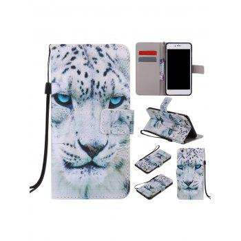 White Cheetah Colored Drawing PU Leather iPhone Cover