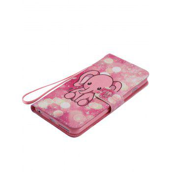 Cartoon Little Elephant Colored Drawing PU Leather Phone Case For iPhone - PINK PINK