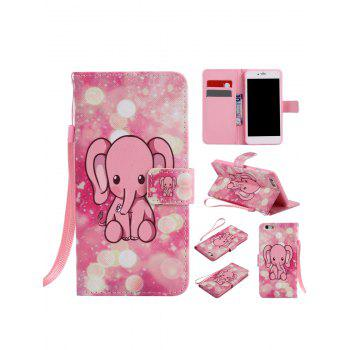 Cartoon Little Elephant Colored Drawing PU Leather Phone Case For iPhone - PINK FOR IPHONE 7