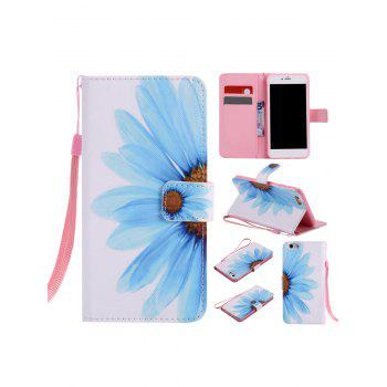 Half Sunflower Colored Drawing PU Leather Phone Case For iPhone