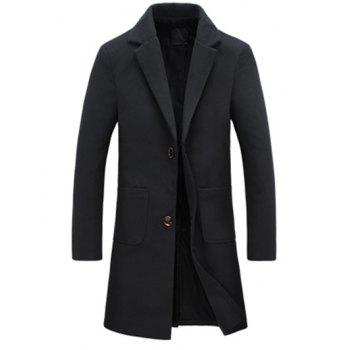 Turndown Collar Flocking Single Breasted Woolen Blends Coat