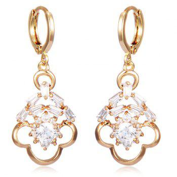 Hollow Out Rhinestone Floral Drop Earrings - WHITE WHITE