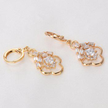 Hollow Out Rhinestone Floral Drop Earrings -  WHITE